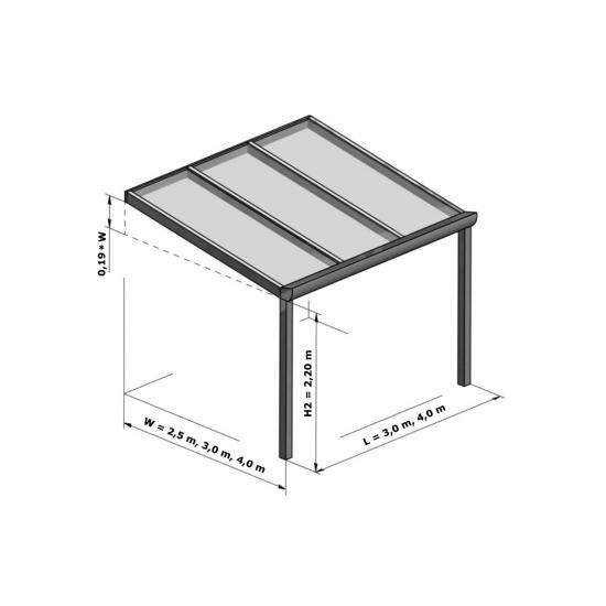 Aliuminio stoginė - skaidrus stiklas / Plotis (L) 4,10 m / įv. gyliai